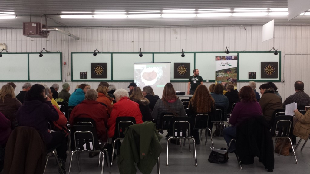 Will Stolz, Ontario Nature's Forest Food Project Coordinator presenting about edible wild plants in Dryden. (photo courtesy of Ontario Nature)