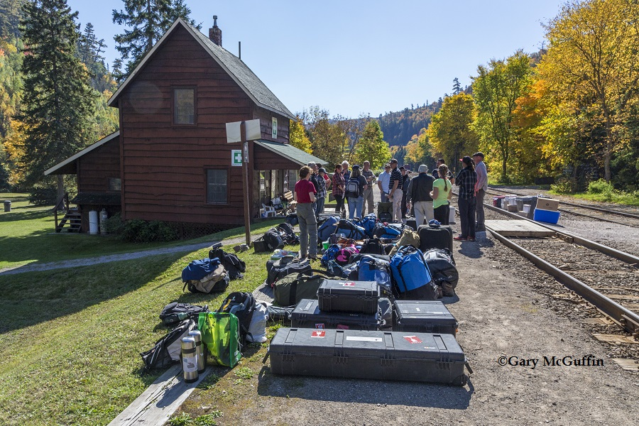 At the Canyon Station House in Agawa. Crew with their gear await the passenger train.