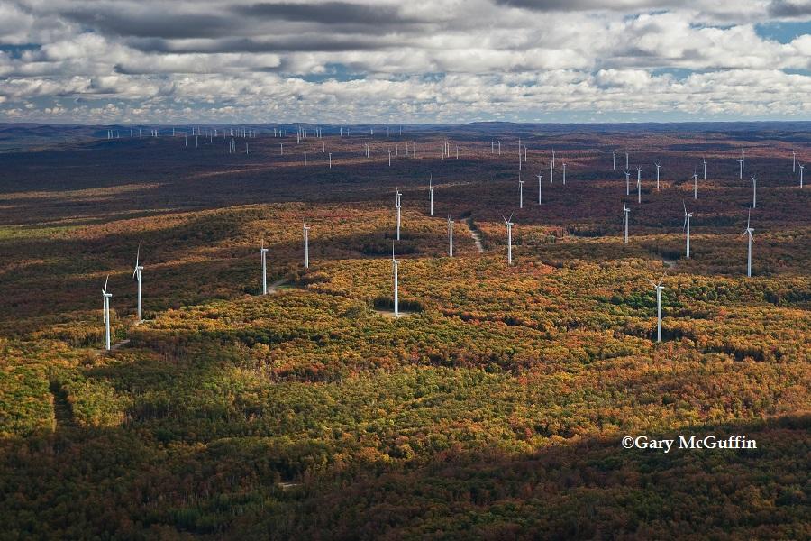 Prince Wind Farm, Prince Township. Visible as far away as Pancake Bay Provincial Park.