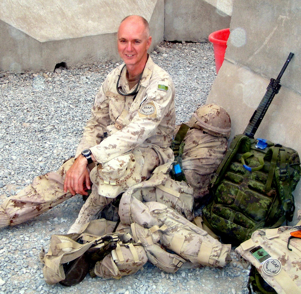 Lieutenant-colonel Lance Knox, awaiting helicopter while in Afghanistan.