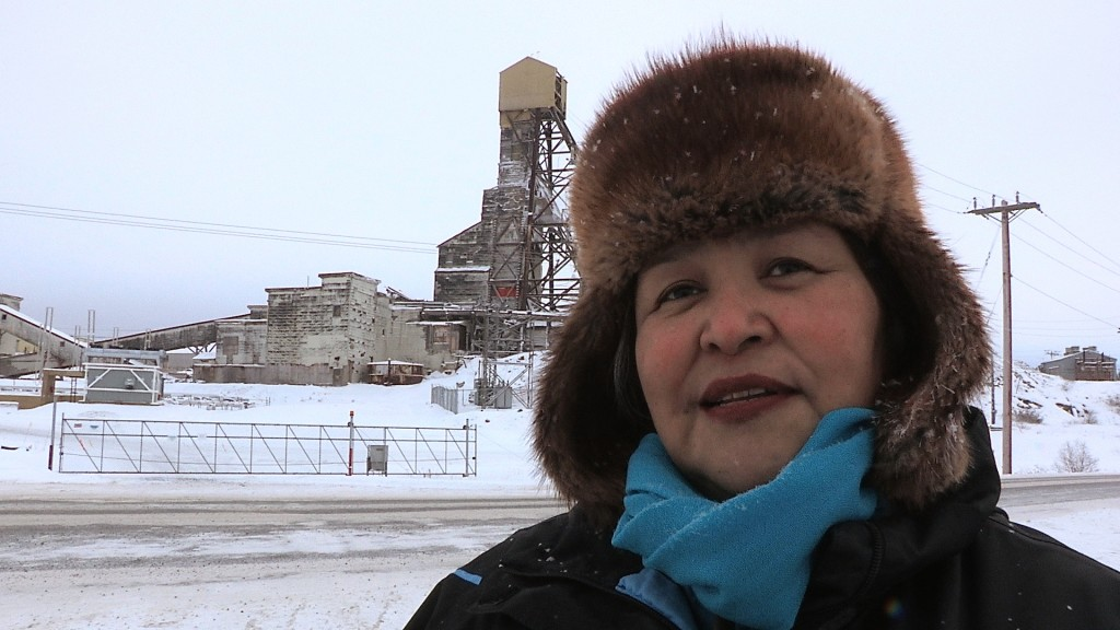 Mary Rose Sundberg, in front of the Giant Mine.