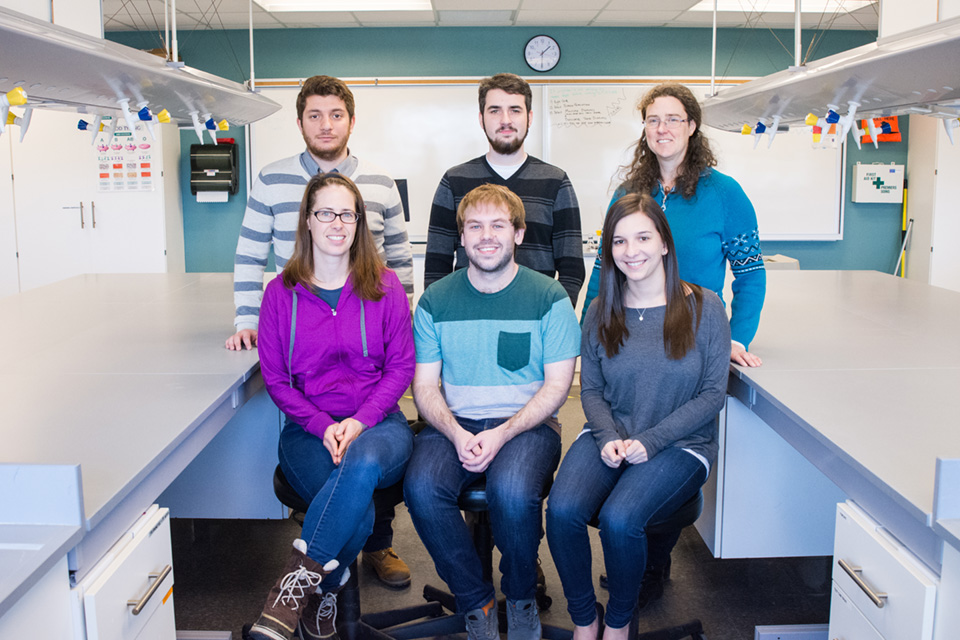 Back Row, Left to Right: Homan Al-Ani (3rd year Biology student), Brandan Norman, Dr. Jennie Pearse. Front Row, Left to Right: Dr. Jennifer Foote, Dean Evans (Chimney Swift Population Monitoring Intern), and Rebecca Schroeder (4th year Biology student)