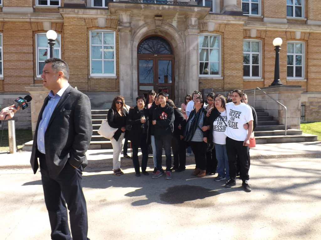 Chief Paul Syrette, Garden River First Nation, addresses reporters in front of Sault Ste. Marie Courthouse.