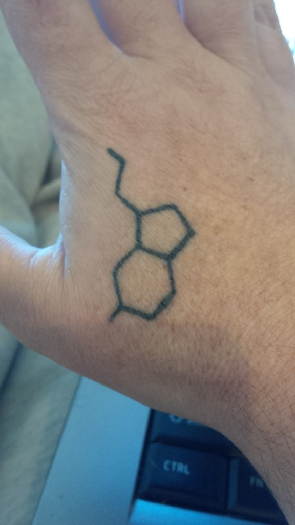 Jennifer's serotonin tattoo. It reminds her that she's going to be ok.