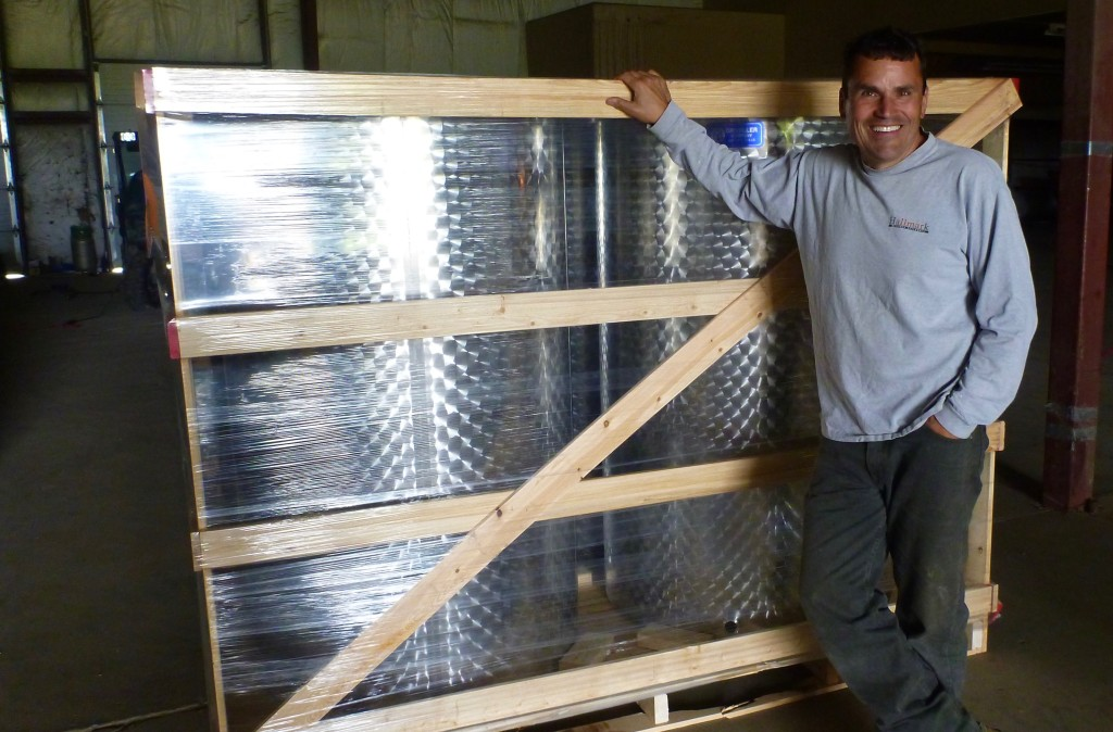 Laing and his fermenters. Winery production is underway this year and will be available for purchase in 2017.