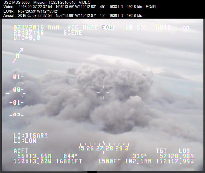 Image of a pyro-cumulous cloud (a thunderstorm type cloud that is formed by an aggressive smoke column during a wildfire). Though the smoke is thick, with infrared technology, scientists can see straight through to the fire. Photo courtesy of Natural Resources Canada, Northern Forestry Centre