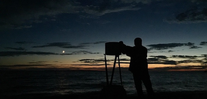 Jeffrey Deans setting up his telescope on the shores of Lake Superior Provincial Park for an evening of star gazing.