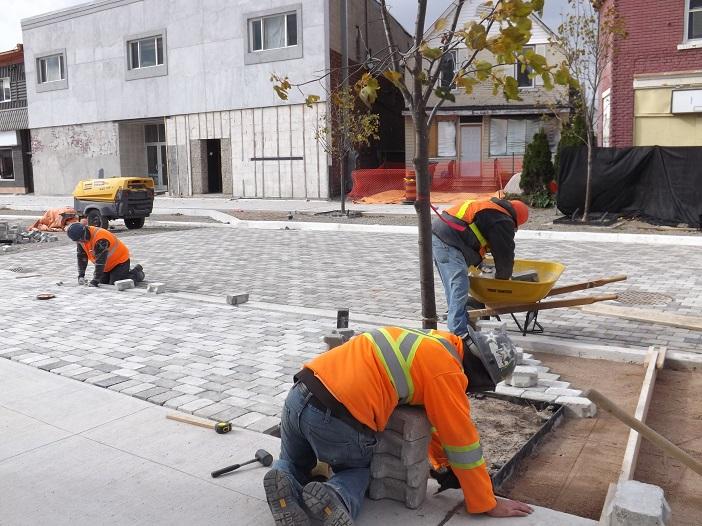 Brick work underway on Gore Street.