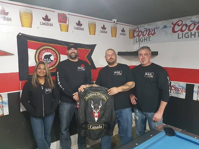 (left to right) Savitri Sookhoo -Secretary-Treasurer Sault Soldiers of Odin and Soldiers of Odin Ontario North. Claude Torma -President Sault Soldiers of Odin and Soldiers of Odin Ontario North. Eric Korel- Vice-President Sault Soldiers of Odin and Soldiers of Odin Ontario North. Dave Halle- Sergeant at Arms Sault Soldiers of Odin.